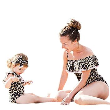 Leopard Print Mother and Daughter Swimsuit
