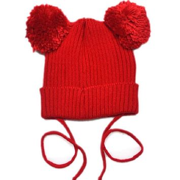 Moeble Toddler Double pom pom hat Knit baby toddler kids knit hats Girls hat with pom toque beanie Mouse Ear Pom Hat 1pc H005