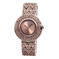 Zlyc Women's Bling Rhinestone Encrusted Rose Coffee Plated Classic Round Dial Quartz Bracelet Watch