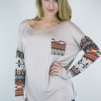 Aztec Long Sleeve Pocket Tee