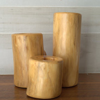 Vintage Burled Wood Candle Holders / Mod Home Decor