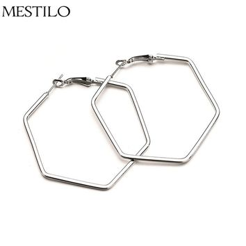 MESTILO Exaggeration Simple Geometric Sliver Hollow Big Hexagon Hoop Earrings For Women Fashion Punk Large Earrings Jewelry 2018