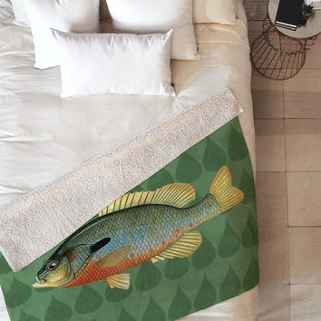 Natt Green and Yellow Fish Fleece Throw Blanket