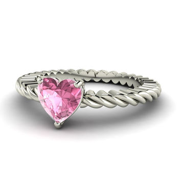 14K Gold Heart Shaped Pink Tourmaline Engagement Ring - Valentine