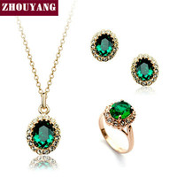ZYS107 Rose Gold Color Created Green Austrian Crystal Jewelry Set With 3 Pcs Ring + Necklace + Eearrings