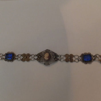 Vintage Antique Victorian Cameo Filigree Gold Silver Bracelet Blue Stone Jewelry