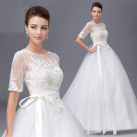A-Line Scoop Half Sleeve Chapel TrainTulle Lace Appliques Wedding Dress #67899877