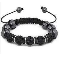 """""""Uber Shamballa"""" Bracelet - Black Hematite with Silver or Gold Accents"""