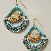 Vallee Beaded Hoops by Jill Schwartz Turquoise One Size Jewelry