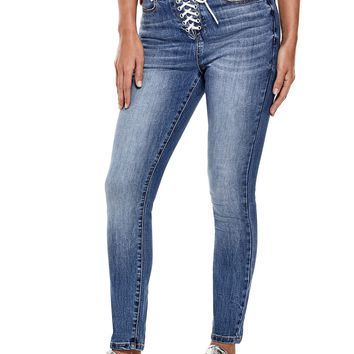 Toledo High-Rise Lace-Up Skinny Jeans