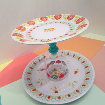 S A L E - Double Tiered Dessert Plate Stand-Summer Fun! (Plastic 2-tiered Serving Dish) Cake/Cupcake/Candy/Buffet/BBQ