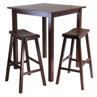 Parkland 3pc Square High/Pub Table Set with 2 Saddle Seat Stools