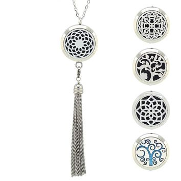 316L Stainless Steel Perfume Diffuser lockets Necklace 30MM aromatherapy Necklace with Tassel(free with chain and 5pads)