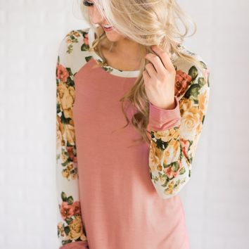 The One for Me Floral Sleeve Pink Top