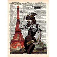 Eiffel Tower art, sexy steampunk pinup girl, book page art