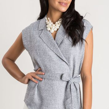 Margaret Grey Sleeveless Collared Top
