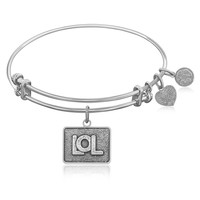 Expandable Bangle in White Tone Brass with LOL Symbol