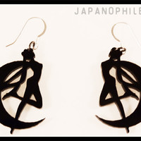 Sailor Moon Transformation earrings with sterling silver fish hooks.