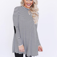 Ivory/Black Striped Mock Neck Tunic