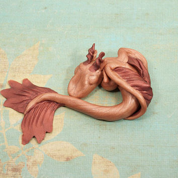 Copper Sleeping Dragon Figurine, Dragon Figure, Polymer Clay Dragon, Sleeping Dragon Sculpture, Clay Dragon Figurine, OOAK Dragon