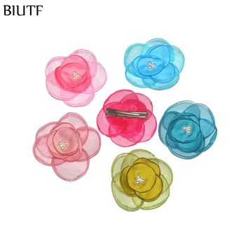3pcs/lot Newest Hairpin Burned Mesh Flower + Satin Flower Silk Transparent Flower with Hair Clip FC129