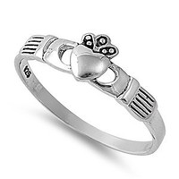Sterling Silver Plain Polished Heart Hands Claddagh Ring