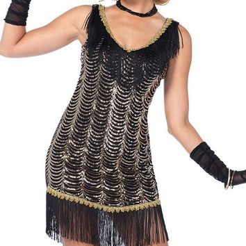 Speakeasy Sweetheart Black Gold Sequin Fringe Sleeveless V Neck Mini Shift Dress Halloween Costume