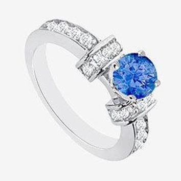 Sapphire Engagement Ring with 1 carat center in 14K White Gold Cubic Zirconia 2.10 Carat TGW