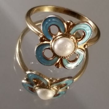 David Andersen Sterling Silver Pearl blue flower Guilloche gold over sterling Danish ring size 3 1/2
