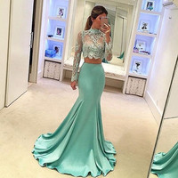 Two Pieces Mermaid Prom Dress 2017 Mint Long Sleeve High Neck See Through Sheer Lace Appliques Sexy Satin Sexy Long Prom Dresses
