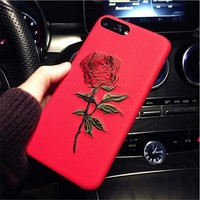 For Apple iPhone 6 6S S 7 8 Plus Luxury Embroidery Rose Case Mobile Phone Cover Coque + iPhone6 6Plus 7Plus i Phone 6 7 8 Cases
