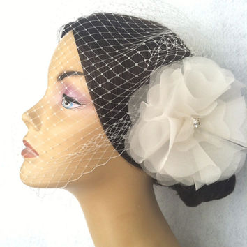 Wedding Birdcage Veil Ivory Blusher with Silk Organza Flower Vintage inspired Bridal Hair piece