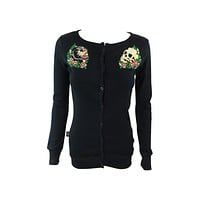 Liquor Brand Tattoo Inspired Panther & Skull Long Sleeve Button Top Cardigan