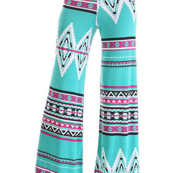 Mint and Fuchsia Tribal Palazzo Pants