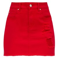 Red Distressed Denim Mini Skirt