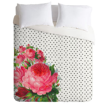 Allyson Johnson Floral Polka Dots Duvet Cover