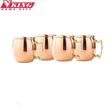 4pcs 2oz Stainless steel 18/8 Drum Shape Copper Plated Moscow Mule Mugs Shot Glass Mini Shot Copper Mug Handled (Exclude Tree)
