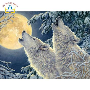 coloring by numbers on canvas with acrylic paints wall art snow wolf animals pictures for living room home decoration WY5225