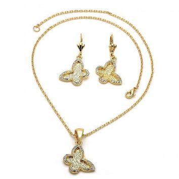 Gold Layered 06.91.0019 Necklace and Earring, Butterfly and Filigree Design, with White Crystal, Polished Finish, Golden Tone