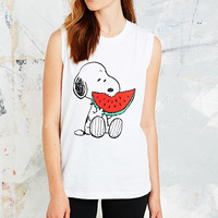 Rodnik X Peanuts Snoopy Eating Watermelon Tee in White - Urban Outfitters