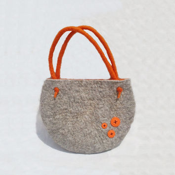 Felted Handbag Grey Wallet Felt Bag Nunofelt Wallet Nuno felt Orange Button merino Wool - Hippie
