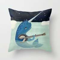 Narwhal's Aquarelle Throw Pillow by Andrea Lauren