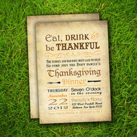 PRINTABLE / 25 Thanksgiving Invitation Cards - Vintage Rustic Brown Thanksgiving Customizable Double Sided Print