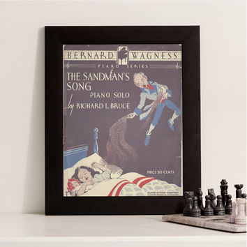 The Sandman's Song, Vintage Sheet Music - 1940s Antique Piano Solo, 40s Unique Home Decor, Bernard Wagness, Creepy Bedtime Halloween Theme