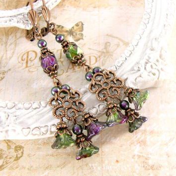 Neo Victorian Peacock Earrings - Swarovski Flower Dangle Earrings Copper Unique Gift - Iridescent Rustic Peacock Wedding Bridesmaids Gifts