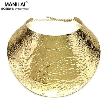 MANILAI Fashion Metal Big Torques Statement Necklaces For Women Large Collar Choker Necklace Boho Design Steampunk Jewelry