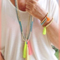 Tassel necklace - Natural colored small beads with neon yellow tassel