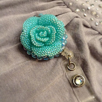 Beautiful Teal flower bling retractable ID badge holder
