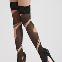 Black Nude Cutout Illusion Stockings-Out of Stock
