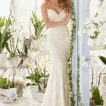 Mori Lee 2807 Beaded Strap Lace  Wedding Dress